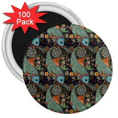 Pattern Background Fish Wallpaper 3  Magnets (100 Pack) by Celenk