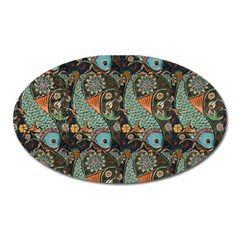 Pattern Background Fish Wallpaper Oval Magnet by Celenk
