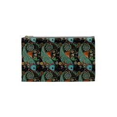 Pattern Background Fish Wallpaper Cosmetic Bag (small)  by Celenk