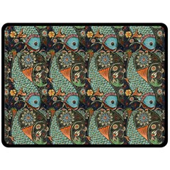 Pattern Background Fish Wallpaper Double Sided Fleece Blanket (large)  by Celenk