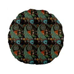Pattern Background Fish Wallpaper Standard 15  Premium Flano Round Cushions by Celenk