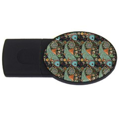 Pattern Background Fish Wallpaper Usb Flash Drive Oval (4 Gb) by Celenk