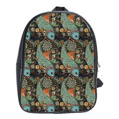 Pattern Background Fish Wallpaper School Bag (large) by Celenk