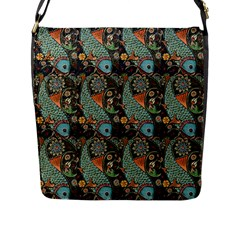 Pattern Background Fish Wallpaper Flap Messenger Bag (l)  by Celenk