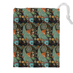 Pattern Background Fish Wallpaper Drawstring Pouches (xxl) by Celenk