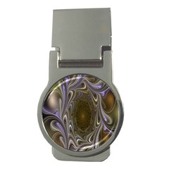 Fractal Waves Whirls Modern Money Clips (round)  by Celenk