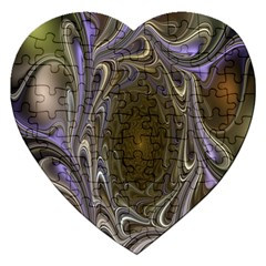 Fractal Waves Whirls Modern Jigsaw Puzzle (heart)