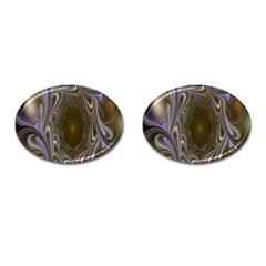 Fractal Waves Whirls Modern Cufflinks (oval) by Celenk