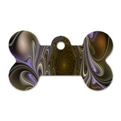 Fractal Waves Whirls Modern Dog Tag Bone (two Sides) by Celenk