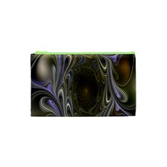 Fractal Waves Whirls Modern Cosmetic Bag (xs) by Celenk