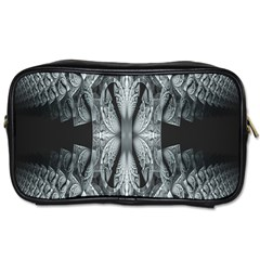 Fractal Blue Lace Texture Pattern Toiletries Bags 2 Side by Celenk