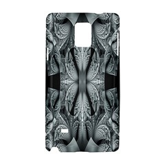 Fractal Blue Lace Texture Pattern Samsung Galaxy Note 4 Hardshell Case by Celenk