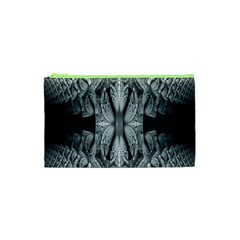 Fractal Blue Lace Texture Pattern Cosmetic Bag (xs) by Celenk