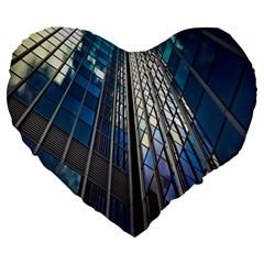 Architecture Skyscraper Large 19  Premium Flano Heart Shape Cushions by Celenk