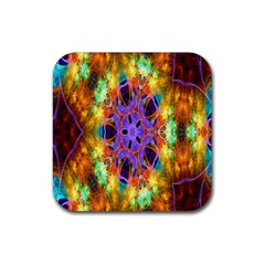 Kaleidoscope Pattern Ornament Rubber Square Coaster (4 Pack)  by Celenk