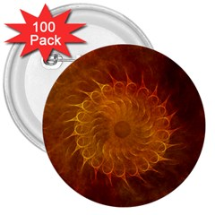 Orange Warm Hues Fractal Chaos 3  Buttons (100 Pack)  by Celenk