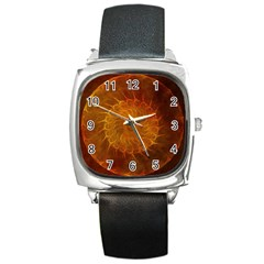 Orange Warm Hues Fractal Chaos Square Metal Watch by Celenk