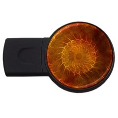 Orange Warm Hues Fractal Chaos Usb Flash Drive Round (4 Gb) by Celenk