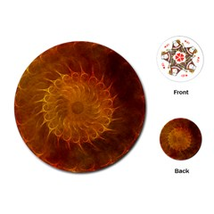 Orange Warm Hues Fractal Chaos Playing Cards (round)  by Celenk