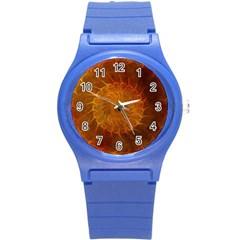 Orange Warm Hues Fractal Chaos Round Plastic Sport Watch (s) by Celenk