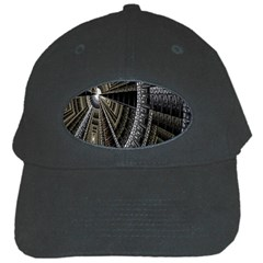Fractal Circle Circular Geometry Black Cap by Celenk