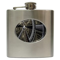 Fractal Circle Circular Geometry Hip Flask (6 Oz) by Celenk