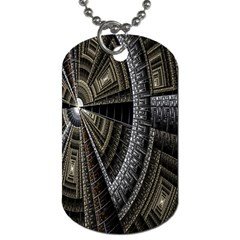 Fractal Circle Circular Geometry Dog Tag (two Sides) by Celenk