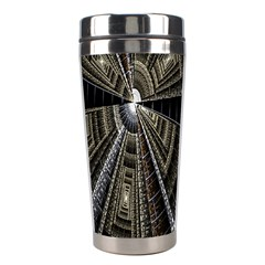Fractal Circle Circular Geometry Stainless Steel Travel Tumblers by Celenk