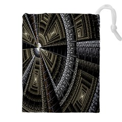 Fractal Circle Circular Geometry Drawstring Pouches (xxl) by Celenk