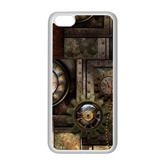 Steampunk, Wonderful Clockwork With Gears Apple Iphone 5c Seamless Case (white) by FantasyWorld7