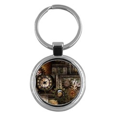 Steampunk, Wonderful Clockwork With Gears Key Chains (round)  by FantasyWorld7