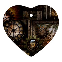 Steampunk, Wonderful Clockwork With Gears Heart Ornament (two Sides) by FantasyWorld7