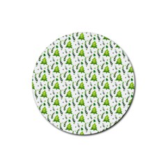 Watercolor Christmas Tree Rubber Coaster (round)  by patternstudio