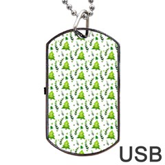 Watercolor Christmas Tree Dog Tag Usb Flash (one Side) by patternstudio