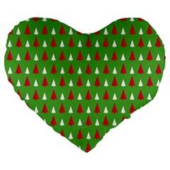 Christmas Tree Large 19  Premium Flano Heart Shape Cushions by patternstudio
