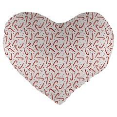 Candy Cane Large 19  Premium Flano Heart Shape Cushions by patternstudio