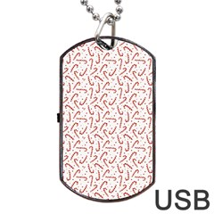 Candy Cane Dog Tag Usb Flash (one Side) by patternstudio