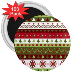 Christmas Spirit Pattern 3  Magnets (100 Pack) by patternstudio