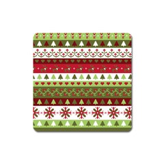 Christmas Spirit Pattern Square Magnet by patternstudio