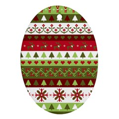 Christmas Spirit Pattern Oval Ornament (two Sides) by patternstudio