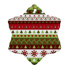 Christmas Spirit Pattern Snowflake Ornament (two Sides) by patternstudio