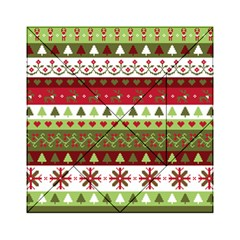 Christmas Spirit Pattern Acrylic Tangram Puzzle (6  X 6 ) by patternstudio