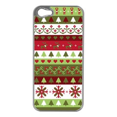 Christmas Spirit Pattern Apple Iphone 5 Case (silver) by patternstudio