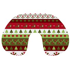 Christmas Spirit Pattern Travel Neck Pillows by patternstudio
