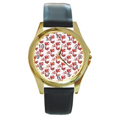 Ho Ho Ho Santaclaus Christmas Cheer Round Gold Metal Watch by patternstudio