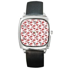 Ho Ho Ho Santaclaus Christmas Cheer Square Metal Watch by patternstudio