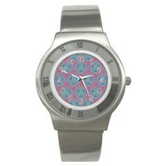 Bereket Pink Blue Stainless Steel Watch by Cveti