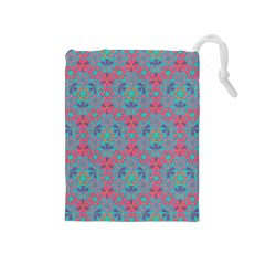 Bereket Pink Blue Drawstring Pouches (medium)  by Cveti