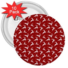 Red Reindeers 3  Buttons (10 Pack)  by patternstudio