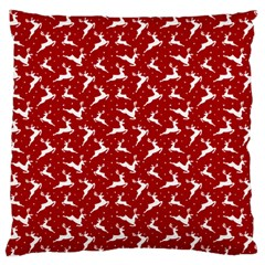 Red Reindeers Large Cushion Case (one Side) by patternstudio